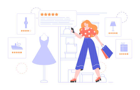 Girl is shopping online. Looks internet customers reviews on a smartphone. Product cards and feedback. Vector flat illustration with character. Illustration