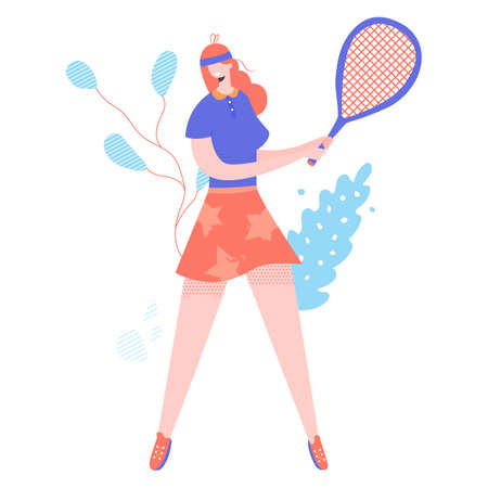 Unusual character girl involved in tennis. The athlete is standing at full height with a tennis racket in her hands. Vector illustration.