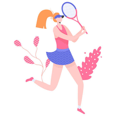 Female tennis player character with a racket