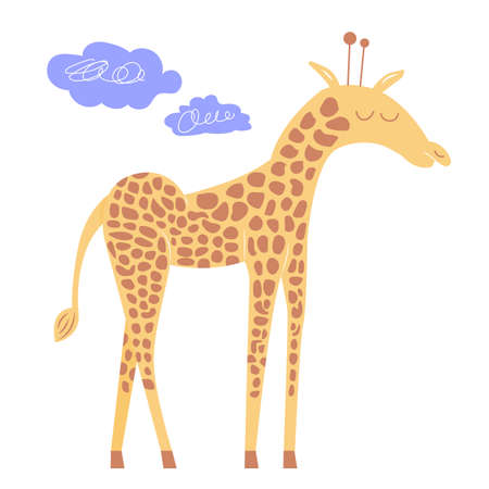 Cute giraffe with closed eyes.