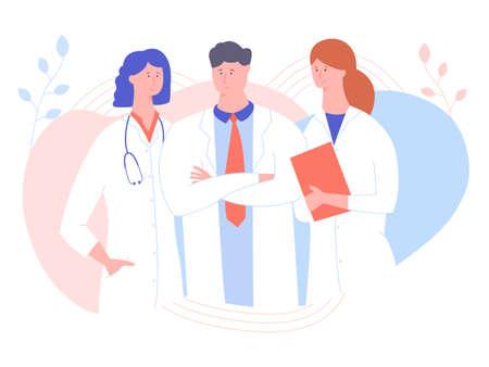 Tre medici su uno sfondo pastello.