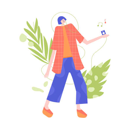 Colorful girl character goes and listens to music. Stock fotó - 137894846