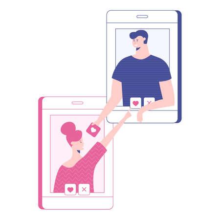 Illustration vectorielle de rencontres en ligne