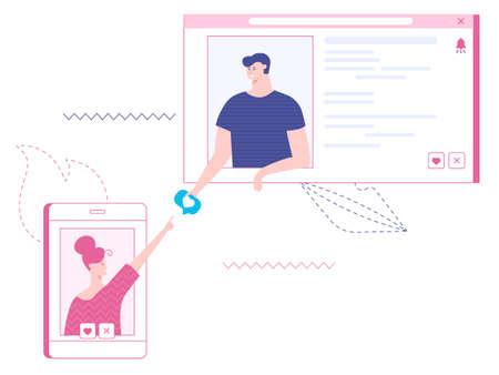 Online dating. Vector illustration Ilustração