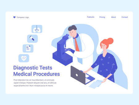 Scientist or doctor and nurse. Landing page. Çizim