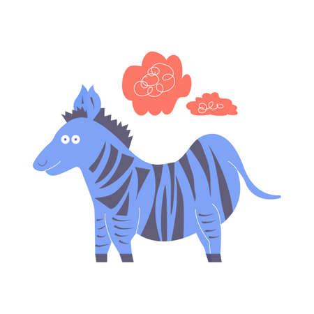 Funny little crazy zebra blue. Stock Illustratie