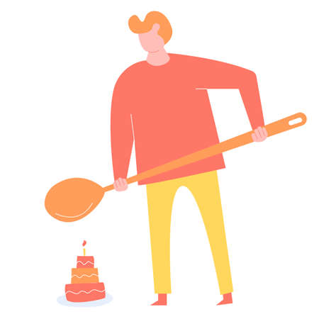 Man with a big spoon is going to eat a cake