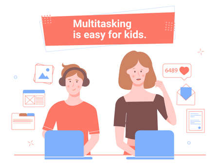 Multitasking is easy for kids. Иллюстрация
