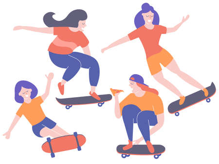 Set characters girls on skateboards.