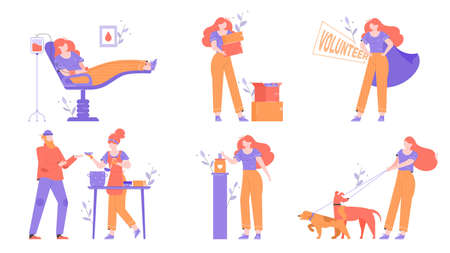 Character set. Volunteering and charity. Ilustrace