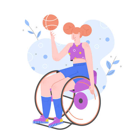 Sports activities for disabled persons. Girl in a wheelchair plays basketball. Paralympics. Trend vector flat character. 向量圖像