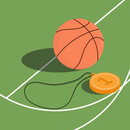 Basketball and a winners medal on a basketball court. Isometric vector illustration on a bright green background.