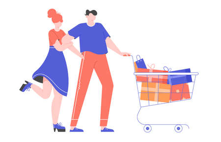 Buying presents. Young couple in a mall with a shopping basket full of gift boxes and packages. Vector flat illustration.