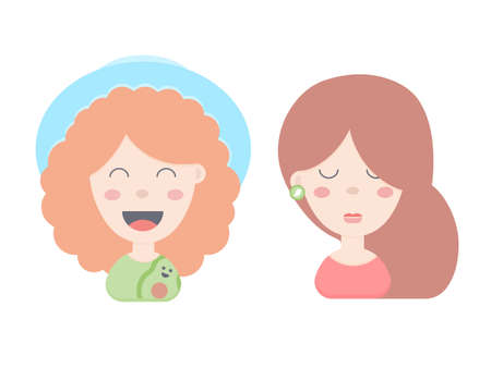 Cute funny girls. Redhead in a hat, brunette in earrings. Heads, avatars. Vector illustration.