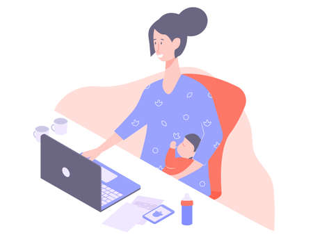 Cute mother with a baby in her arms. Sits at the desk. Works overtime, freelance, independent woman. Vector illustration.