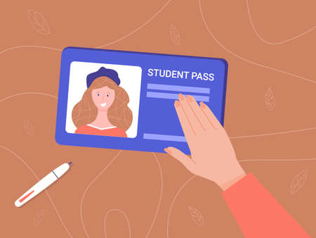 A girl holds a student card with her photo. Hand on a woody background. User verification. Vector illustration.