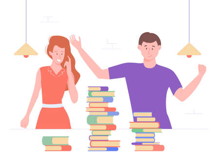 The guy and the girl in the library or classroom. On the table are piles of books, textbooks, encyclopedias. Exam preparation, intensive study. Vector illustration.