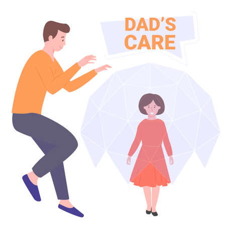 Daddy protector, a hero for his daughter. Do not give the girl a grudge. On guard of stress and resentment, ready to help. Vector illustration. Illustration
