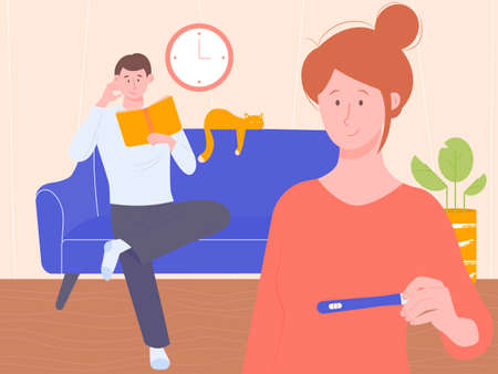 Young cute girl holding a positive pregnancy test. Her boyfriend or husband is sitting on the couch at the back. Good news, they will have a baby. Vector characters in the interior.