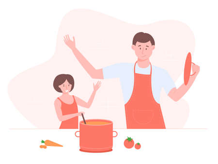 Dad and daughter cook together. Family in the kitchen spends time. Cook soup, culinary skills, teaching children. Bright fun vector illustration.