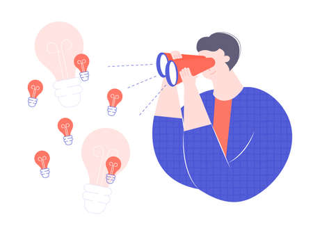 Bright trendy man character attentively looks through binoculars. Brainstorm, search for ideas, development of solutions. Vector illustration.