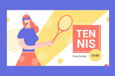 Banner for competitions or training in tennis.  イラスト・ベクター素材