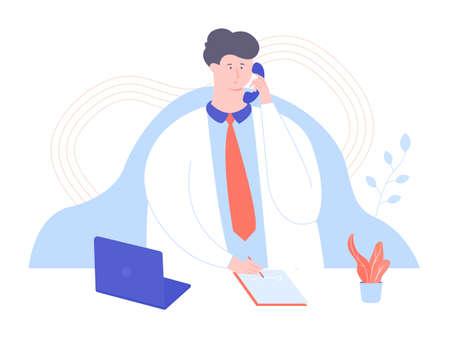 Male doctor answers the phone Фото со стока - 138322969