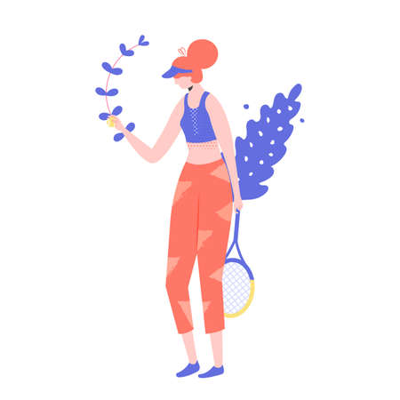 Female tennis player character with a racket in her hands. Professional or amateur player makes a tennis innings. Vector.