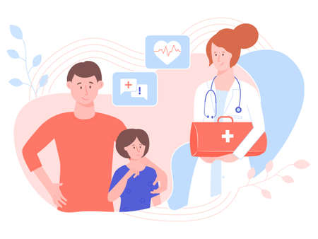 Pretty woman physician with medical bag. Visit home to father and daughter. Health care, ambulance, family doctor. Vector illustration. Фото со стока - 138322468