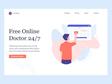 Concept template hero image for the landing page. Free online doctor. Make an appointment. Man chooses a date in the calendar. Vector illustration. Фото со стока - 138322762