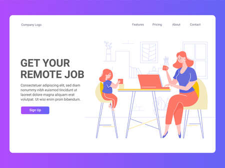 Mom and daughter in the living room. The girl plays with cubes, child development activity. Mom works on a laptop, freelance via the Internet. Landing Page Template with Vector Illustration. Иллюстрация