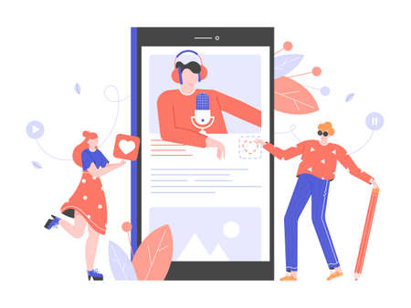 Podcasts, radio, online courses, webinars. Young people study, listen to a lecture on a smartphone. Distance online education. Vector flat illustration. Ilustrace