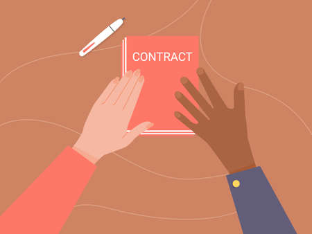 Two hands are holding paper. Conclusion of the contract, business partners. Vector illustration on brown wood background.