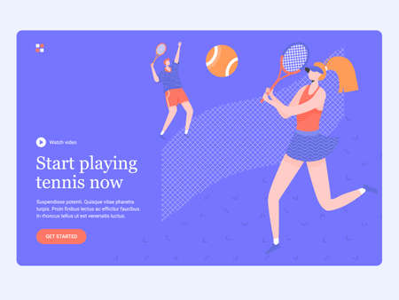 Concept template hero image for landing page. A couple playing on the tennis court. Coach and student. Sports and active hobby, court rental. Trendy vector illustration. Иллюстрация