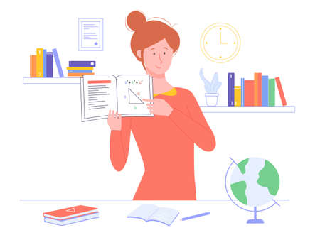 Girl teacher holds a textbook. On the table there are textbook, notebook, globe. Behind the shelf with books. Vector illustration for online courses or home schooling.