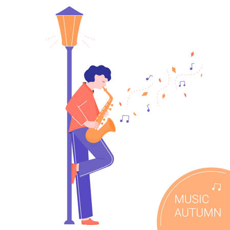 A cute musician plays the saxophone in the light of a lantern. Autumn performance.