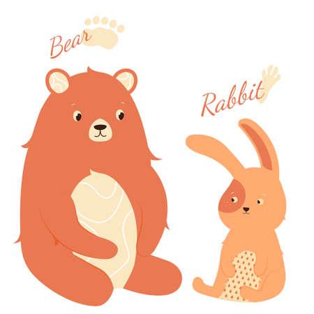 Cute hare and bear 向量圖像
