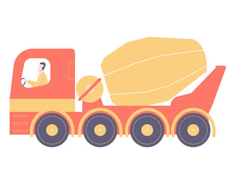 Red concrete mixer with driver. Bright industrial illustration on a white background.