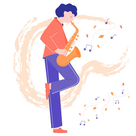 A cute musician plays the saxophone on the background of the leaves. Autumn performance. The man found inspiration in the street. Ilustração