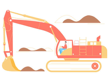 The driver of an excavator on a working career. He will load the ore. Large industrial machine. Bright trendy illustration on a white background. Ilustrace