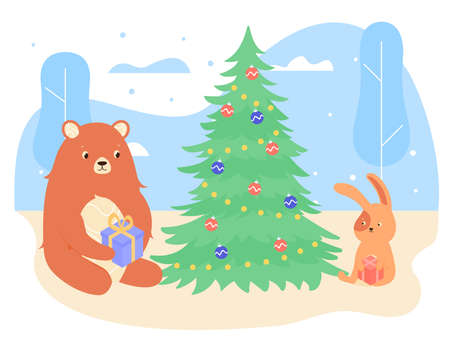 Couple of animals in the winter forest. A bear and a bunny prepared gifts for a friend. Friends sit under a decorated Christmas tree. Vector new year illustration.
