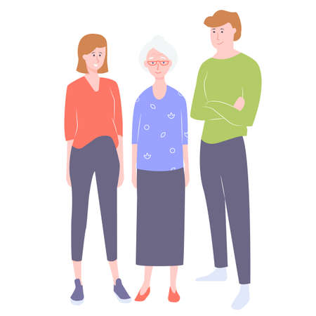 A group of characters relatives. Old lady mom, son and daughter. Stand on a white background. Çizim