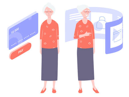 Pretty old lady. Grandma remains modern and uses online technology. Buys in the online store, pay by credit card. Stands next to the payment system and is going to choose the product on the page.