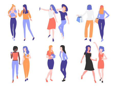 Set girls friendship. Couple of girlfriends isolated on white background. They share secrets, take selfies, go shopping, eat ice cream in the park, give gifts, dance and drink at a party. Minimalistic