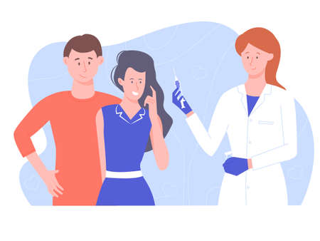 Childrens pediatrician. A female doctor to vaccinates a girl. Happy and healthy family, immunity to disease. Vector illustration.
