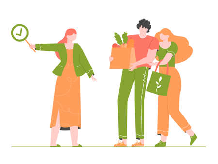 Young couple is shopping in a store without plastic. Eco-friendly packaging and bags. Female expert approves. Zero waste life in eco style. Vector flat illustration.