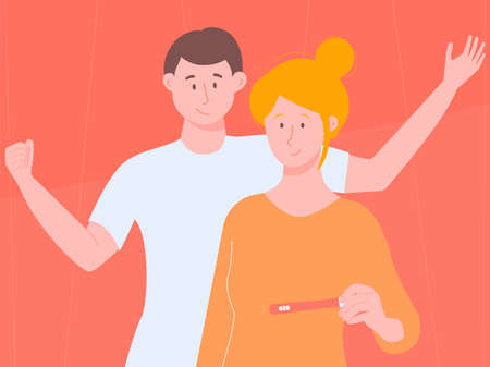 Young couple checks the result of a pregnancy test. He is positive, they will have a child. The joy of husband and wife. Illustration on bright background for articles, Internet sites.
