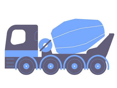 Blue concrete mixer. Industrial illustration on a white background.