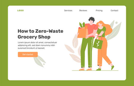 Young couple is shopping in a store without plastic. Eco-friendly packaging and bags. Zero waste life in eco style. Landing page design concept with vector flat illustration. Illusztráció