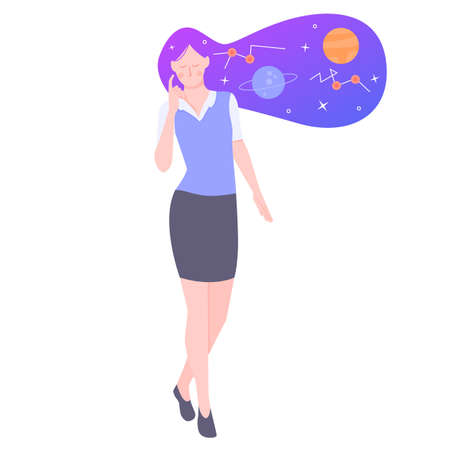 Young girl character. Astronomer. Starry sky in the hair. Conceptual illustration. Иллюстрация